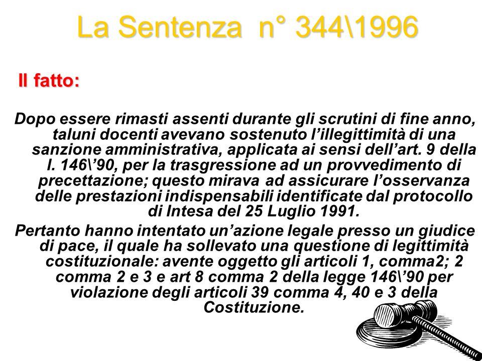 La Sentenza n° 344\1996 Il fatto: