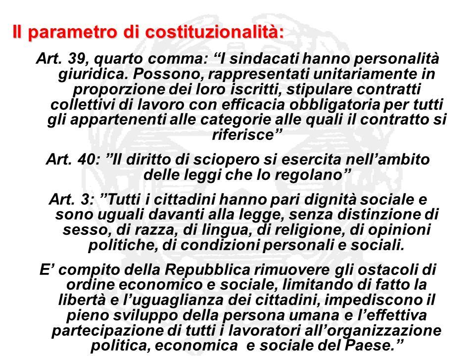 Il parametro di costituzionalità: