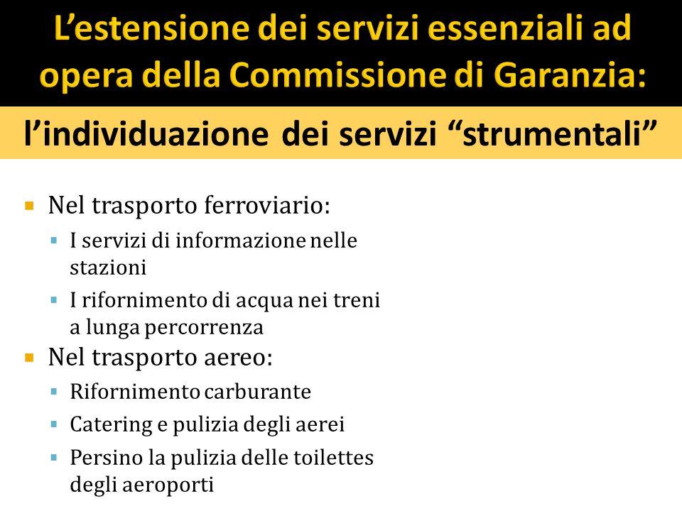 l'individuazione dei servizi strumentali