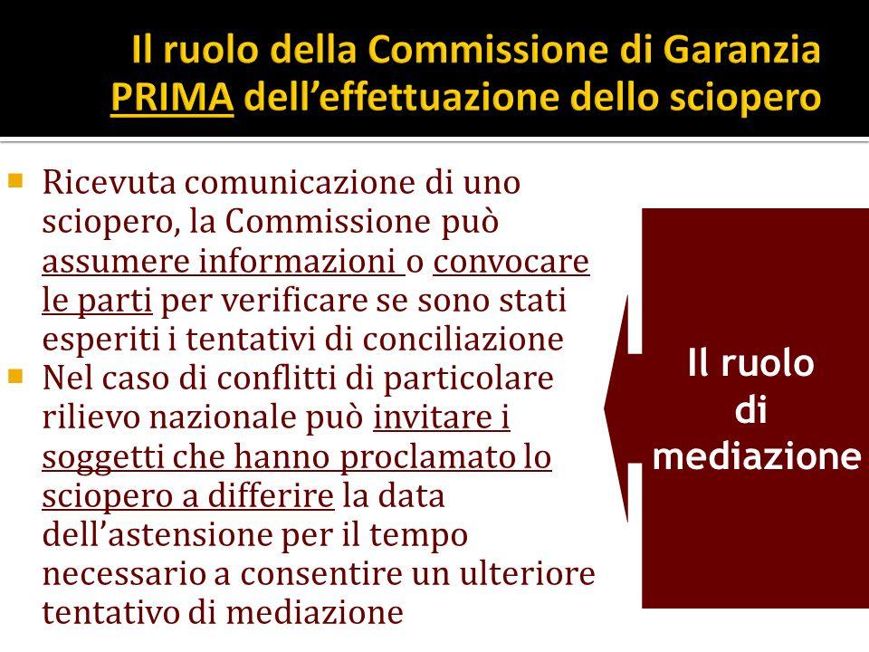 Il ruolo della Commissione di Garanzia PRIMA dell'effettuazione dello sciopero