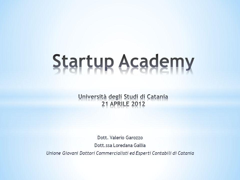 Startup Academy Università degli Studi di Catania 21 APRILE 2012
