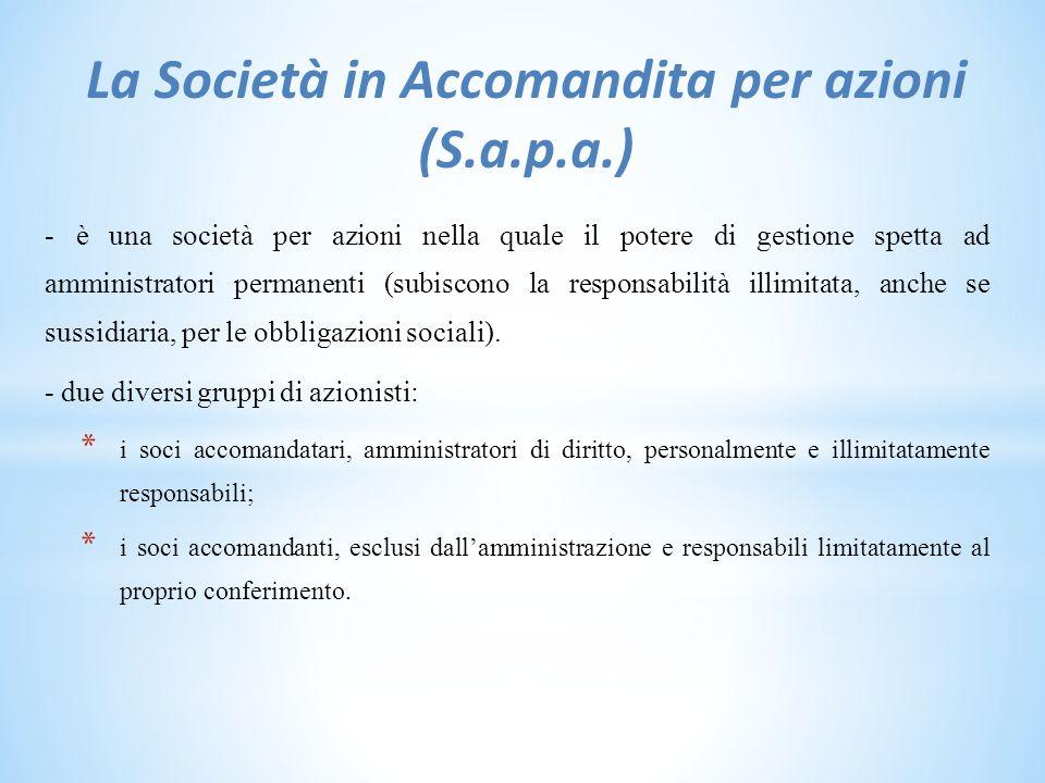 La Società in Accomandita per azioni (S.a.p.a.)