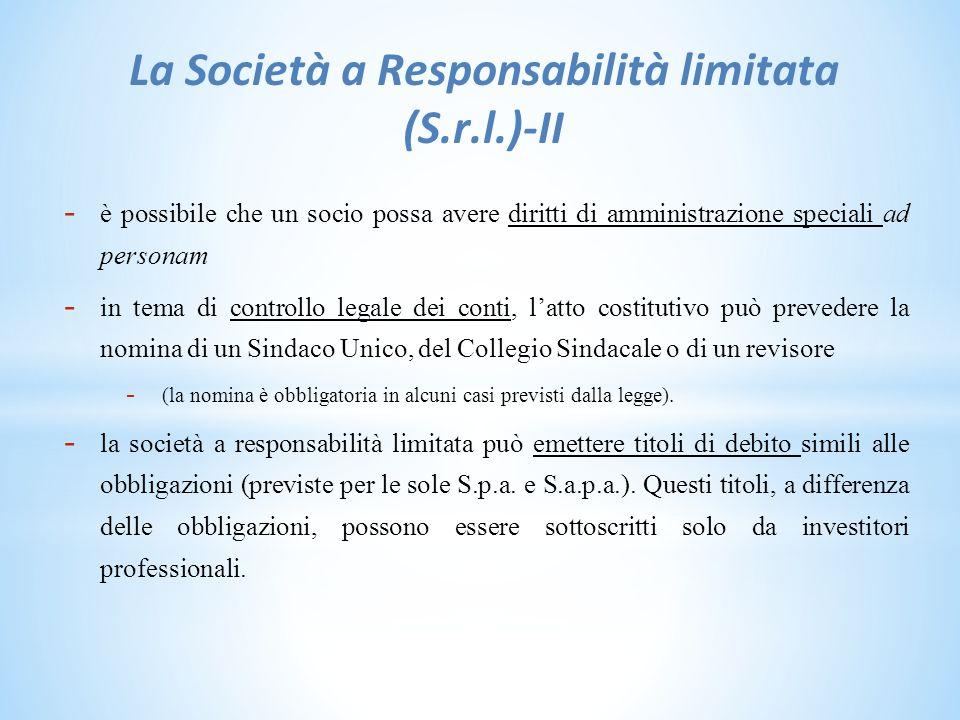La Società a Responsabilità limitata (S.r.l.)-II