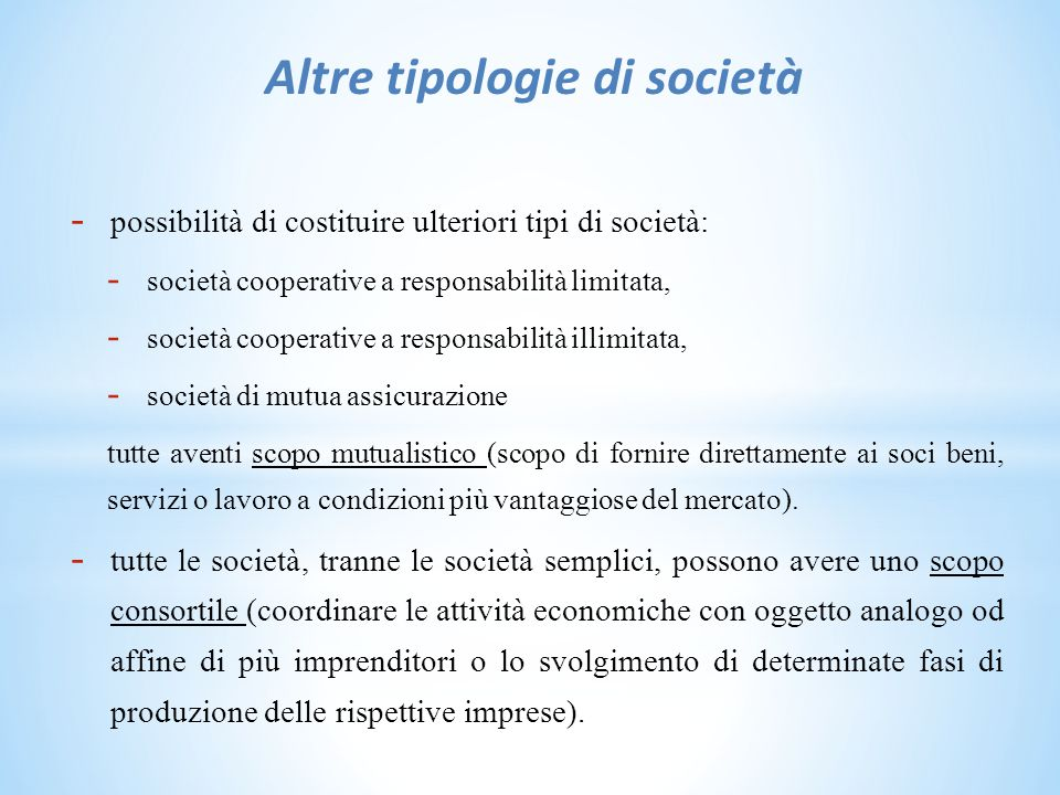 Altre tipologie di società