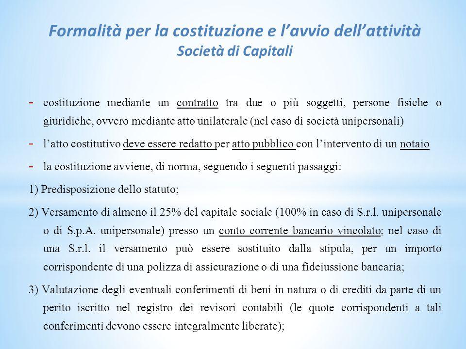 Formalità per la costituzione e l'avvio dell'attività Società di Capitali