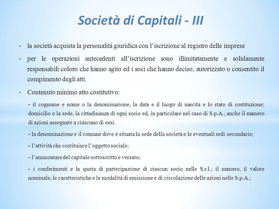 Società di Capitali - III