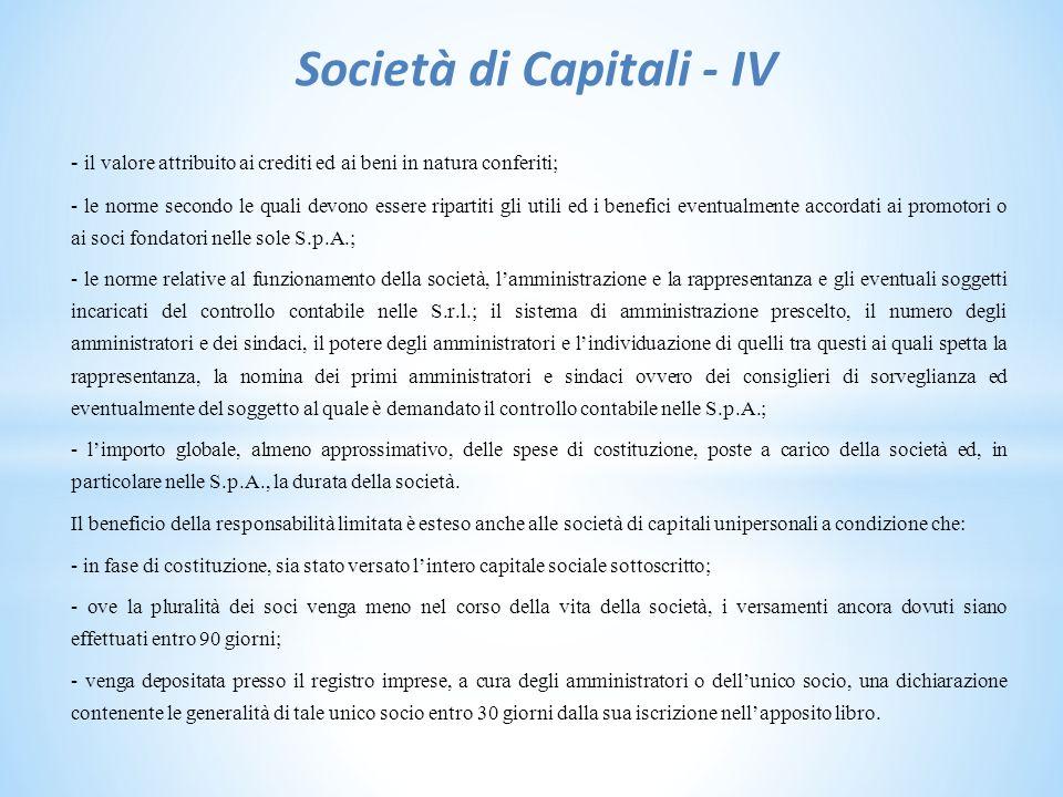 Società di Capitali - IV