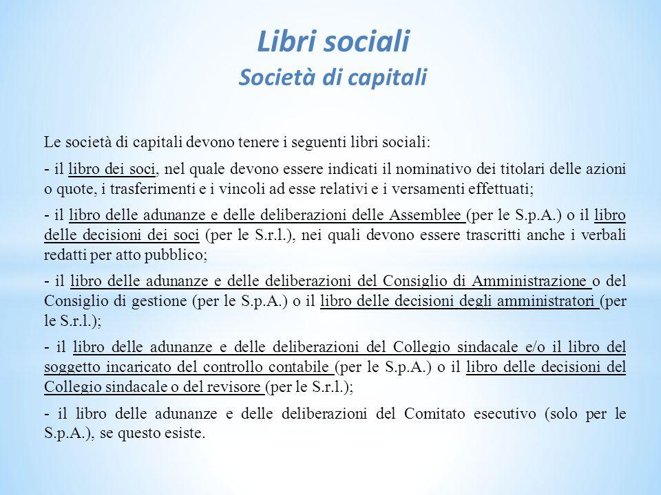 Libri sociali Società di capitali
