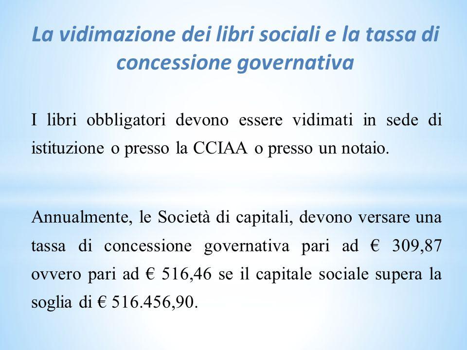 La vidimazione dei libri sociali e la tassa di concessione governativa