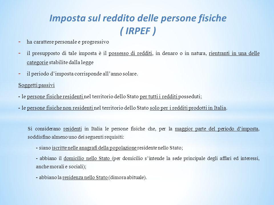 Imposta sul reddito delle persone fisiche ( IRPEF )