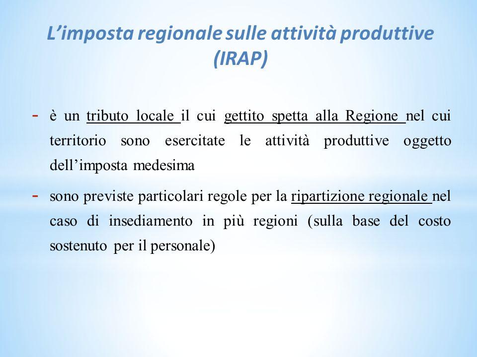 L'imposta regionale sulle attività produttive (IRAP)