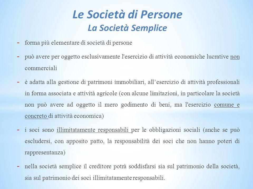 Le Società di Persone La Società Semplice