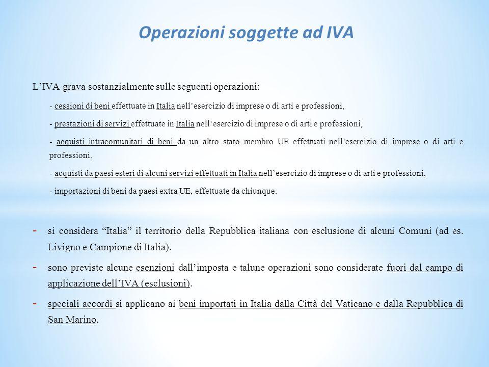 Operazioni soggette ad IVA