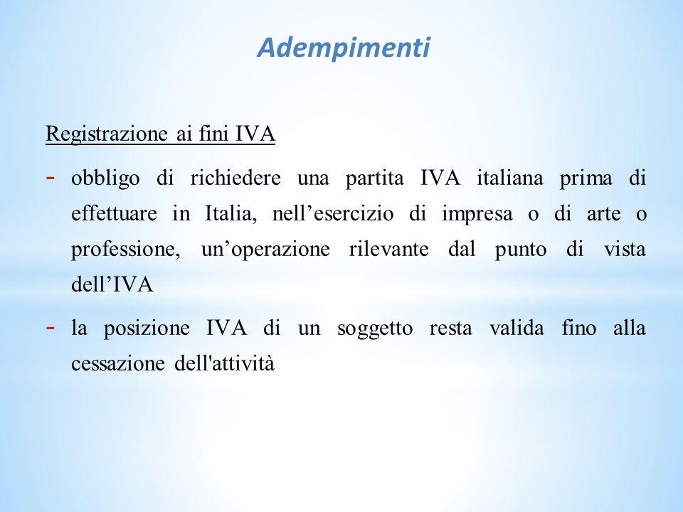 Adempimenti Registrazione ai fini IVA