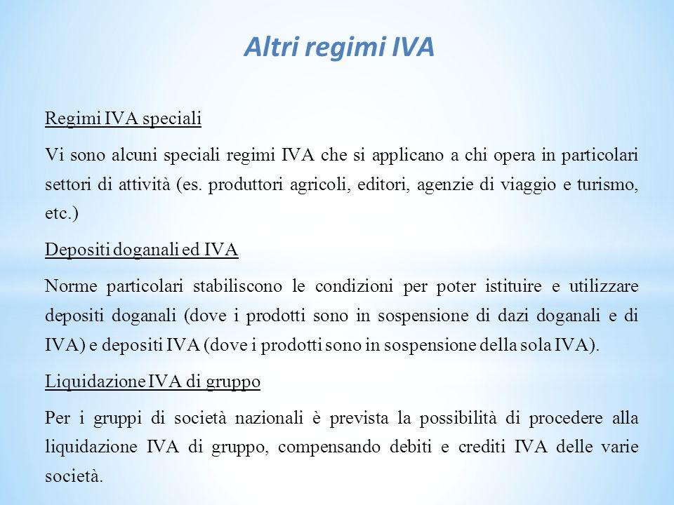 Altri regimi IVA