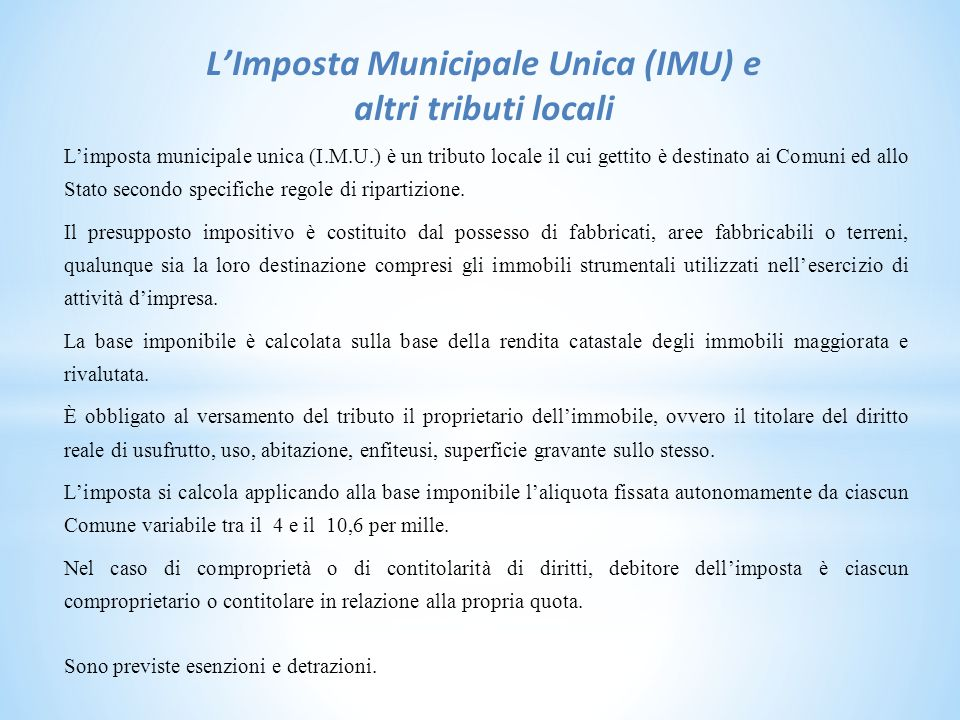 L'Imposta Municipale Unica (IMU) e altri tributi locali