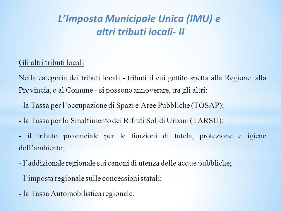 L'Imposta Municipale Unica (IMU) e altri tributi locali- II