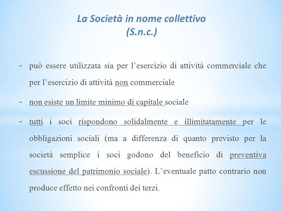 La Società in nome collettivo (S.n.c.)