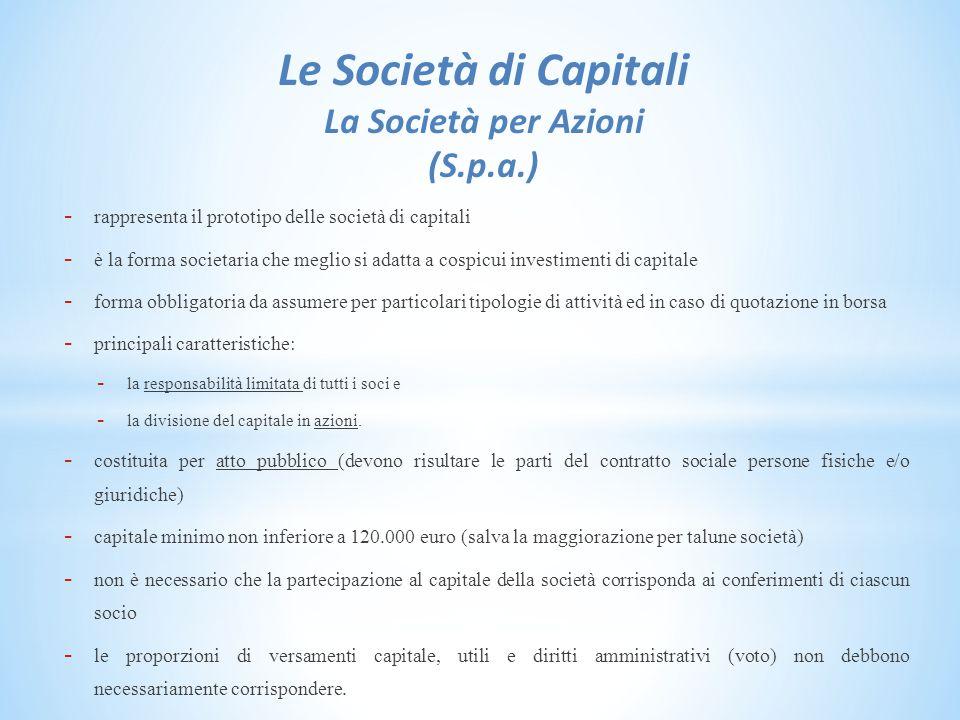 Le Società di Capitali La Società per Azioni (S.p.a.)