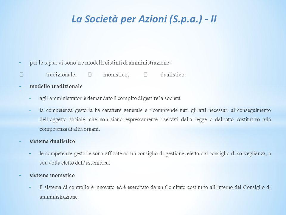 La Società per Azioni (S.p.a.) - II