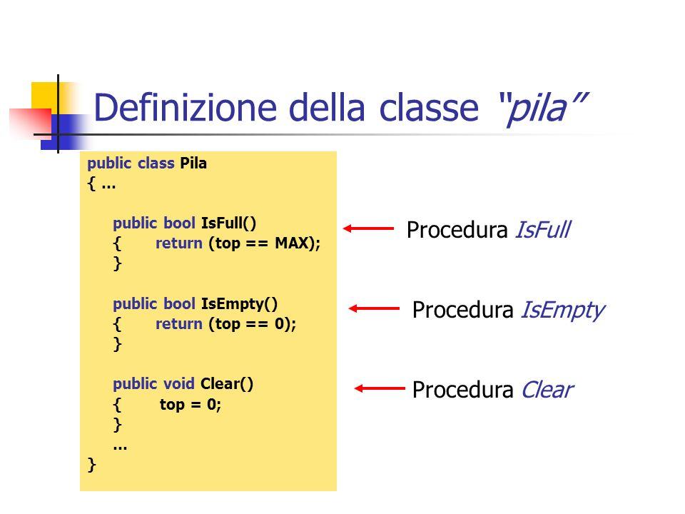 Definizione della classe pila