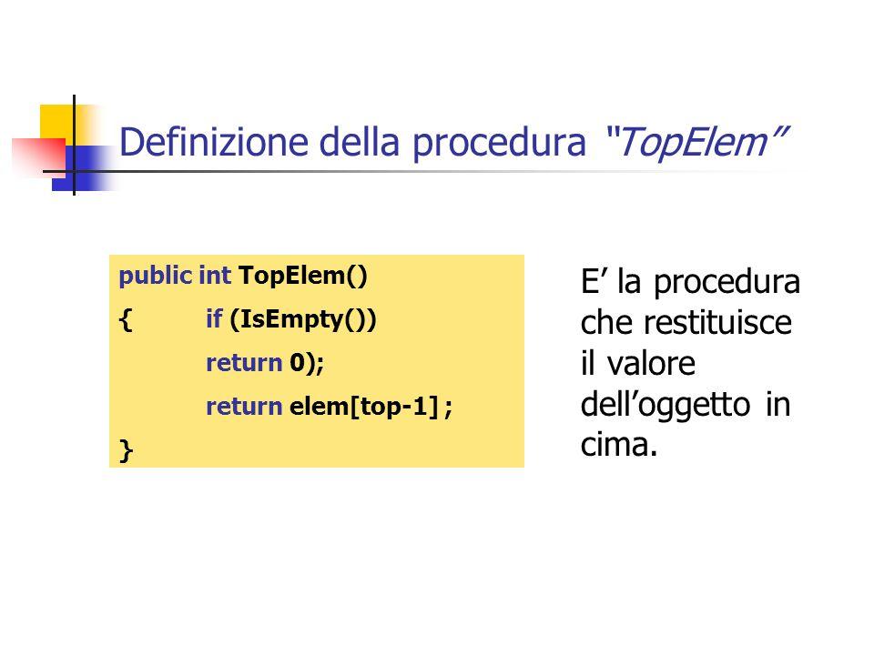 Definizione della procedura TopElem