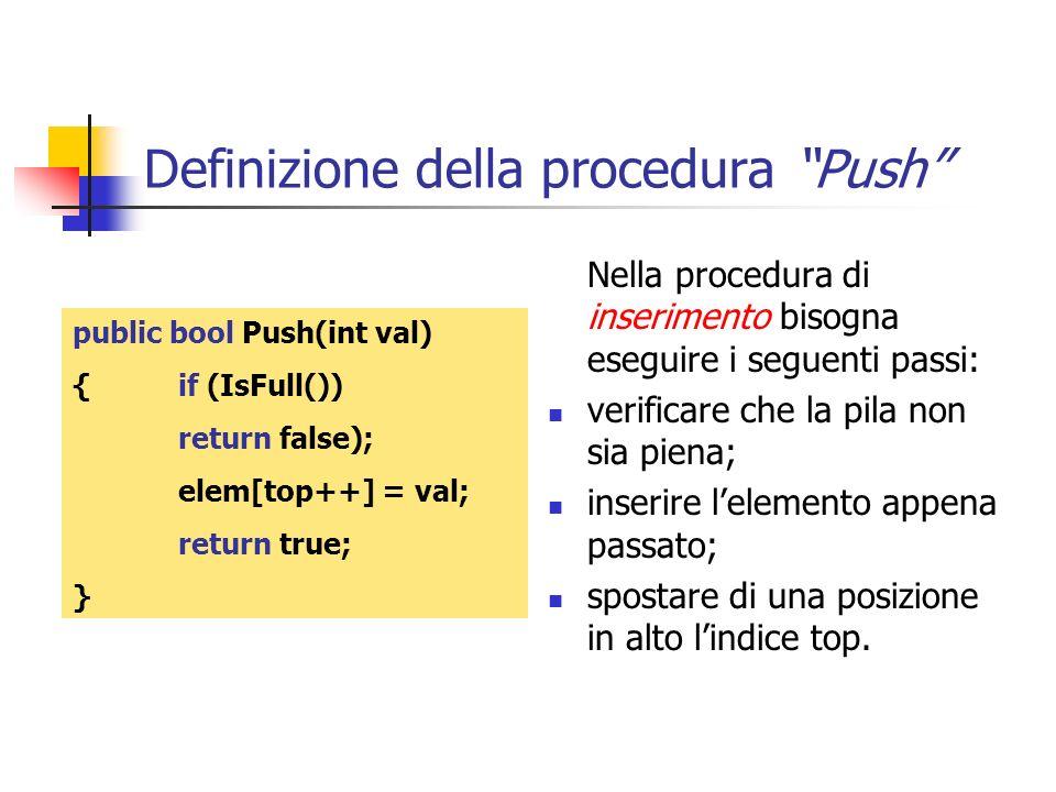 Definizione della procedura Push