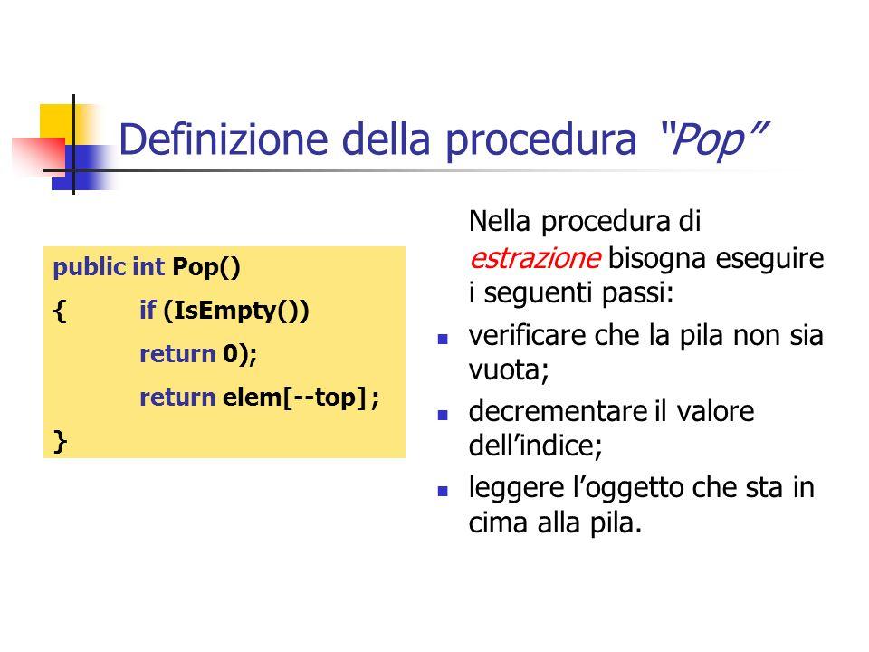 Definizione della procedura Pop