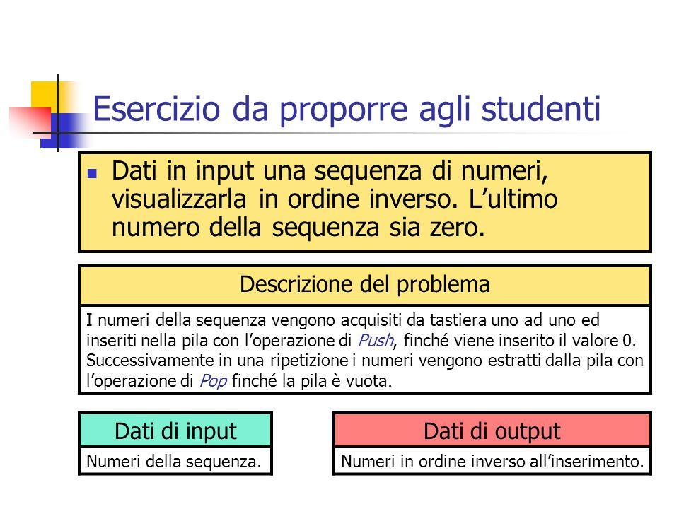 Esercizio da proporre agli studenti