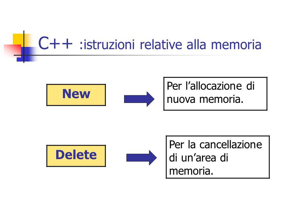C++ :istruzioni relative alla memoria