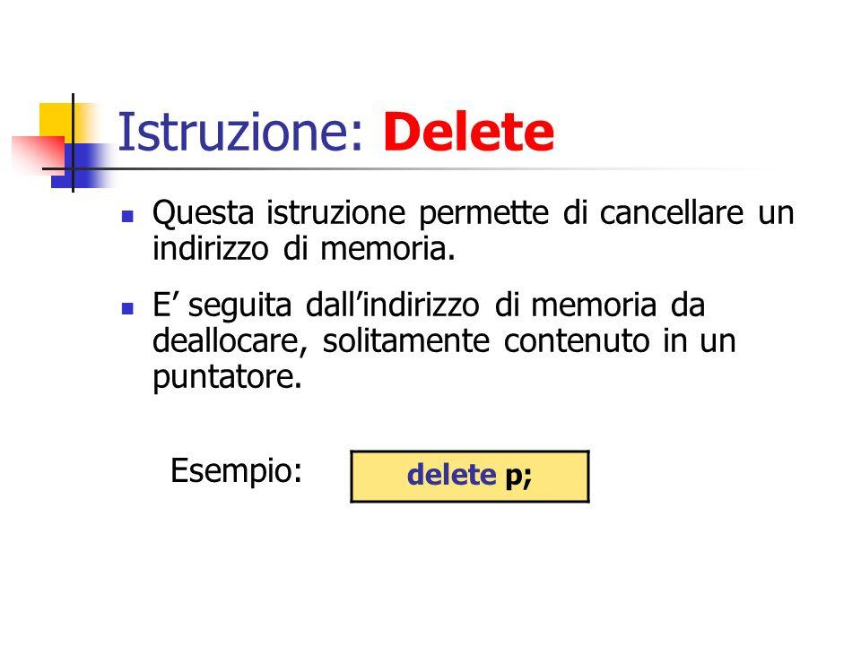 Istruzione: Delete Questa istruzione permette di cancellare un indirizzo di memoria.