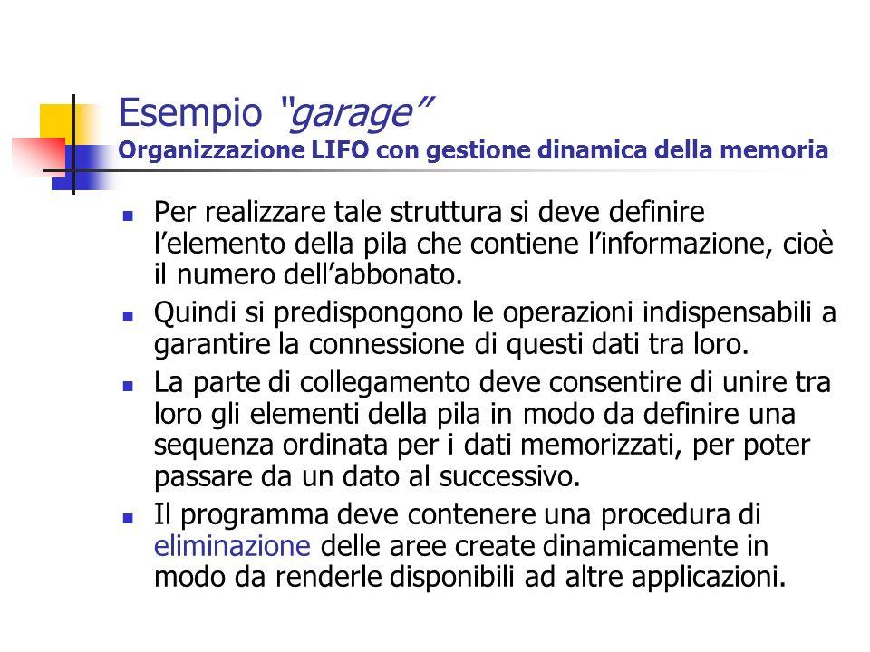 Esempio garage Organizzazione LIFO con gestione dinamica della memoria