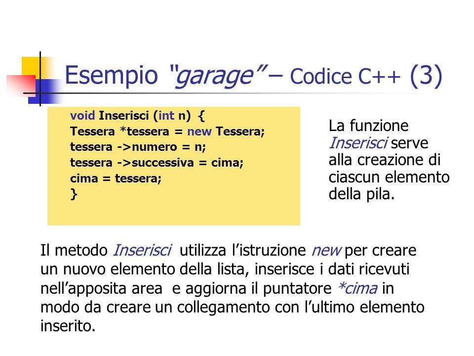 Esempio garage – Codice C++ (3)