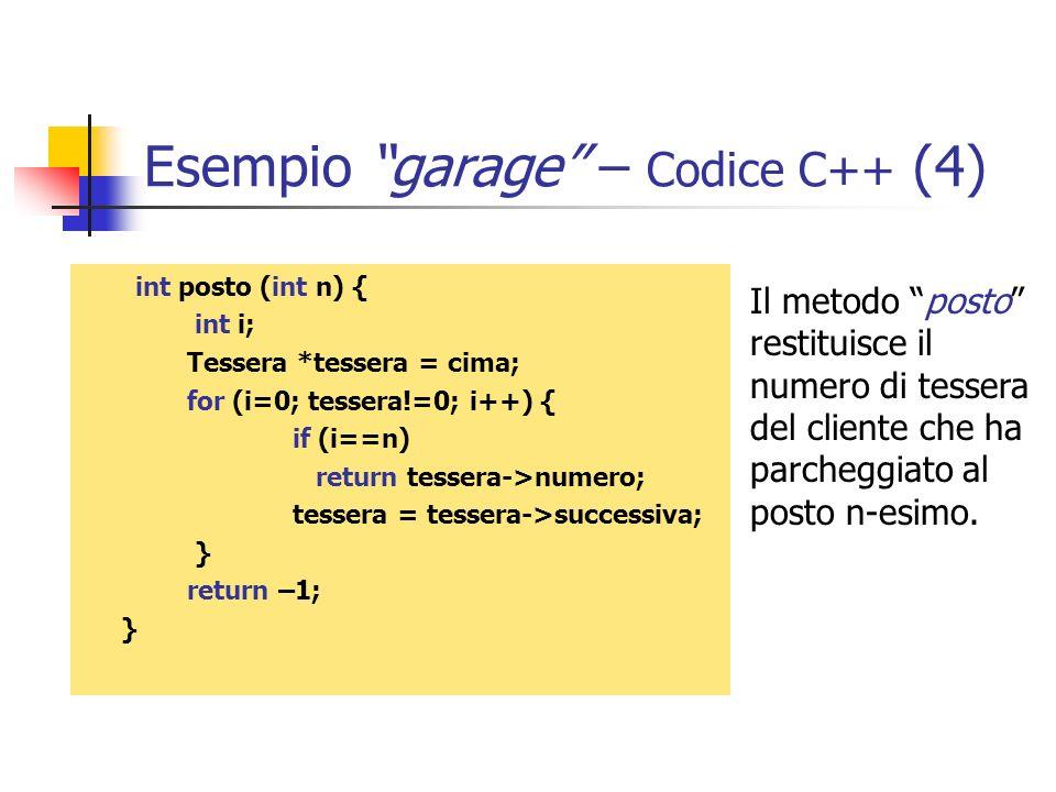 Esempio garage – Codice C++ (4)