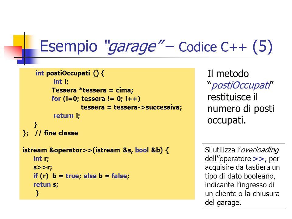 Esempio garage – Codice C++ (5)