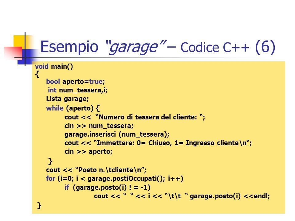 Esempio garage – Codice C++ (6)