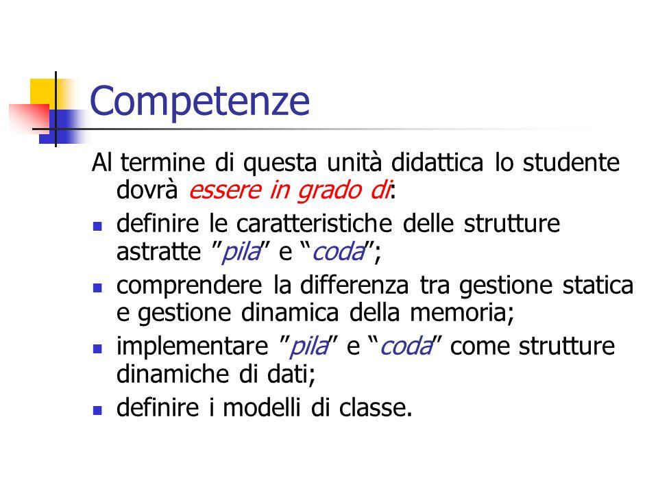 Competenze Al termine di questa unità didattica lo studente dovrà essere in grado di: