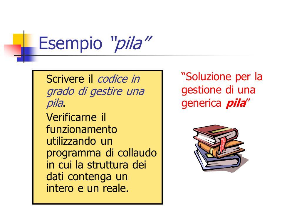 Esempio pila Scrivere il codice in grado di gestire una pila.