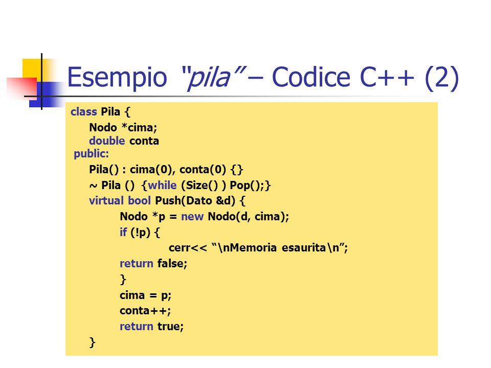 Esempio pila – Codice C++ (2)