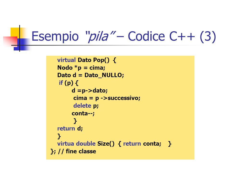 Esempio pila – Codice C++ (3)