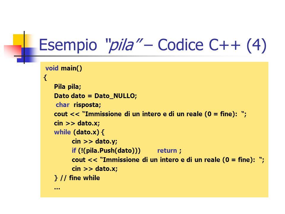 Esempio pila – Codice C++ (4)