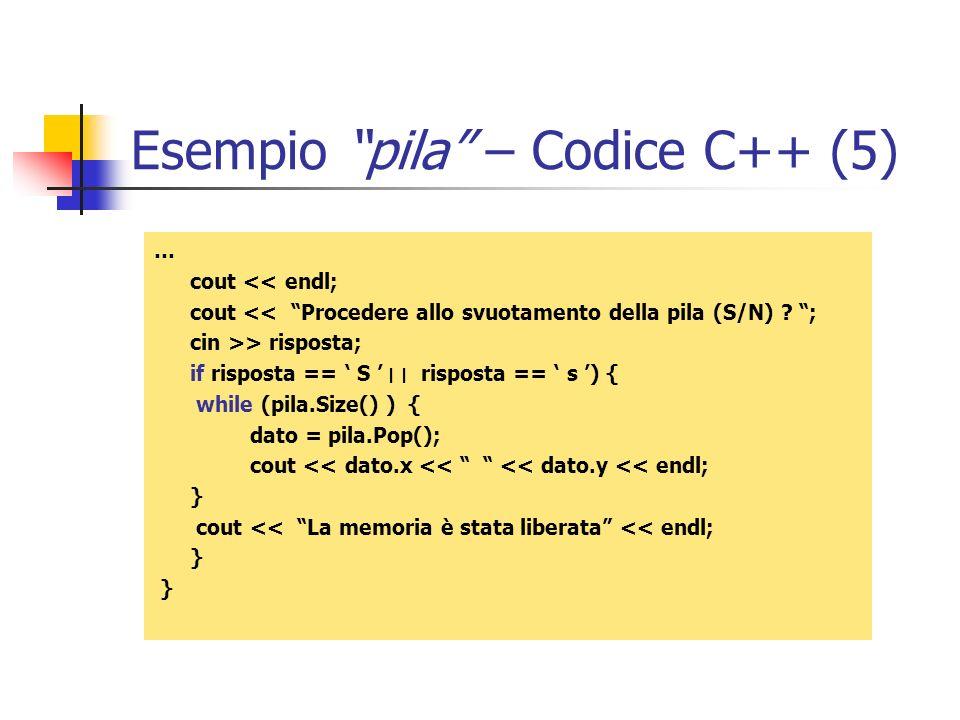 Esempio pila – Codice C++ (5)