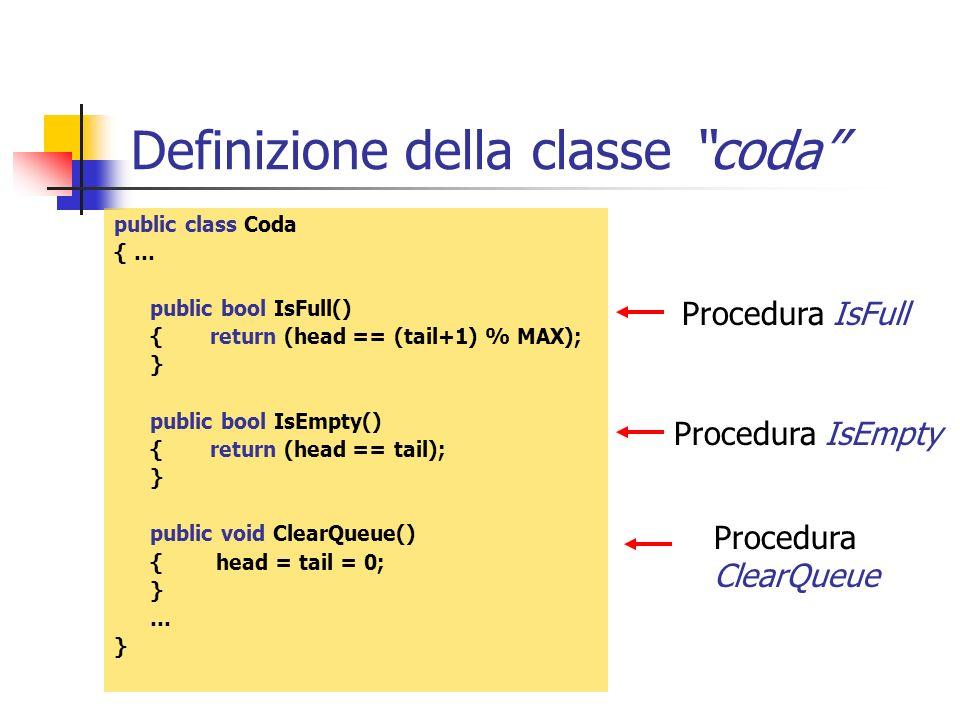 Definizione della classe coda
