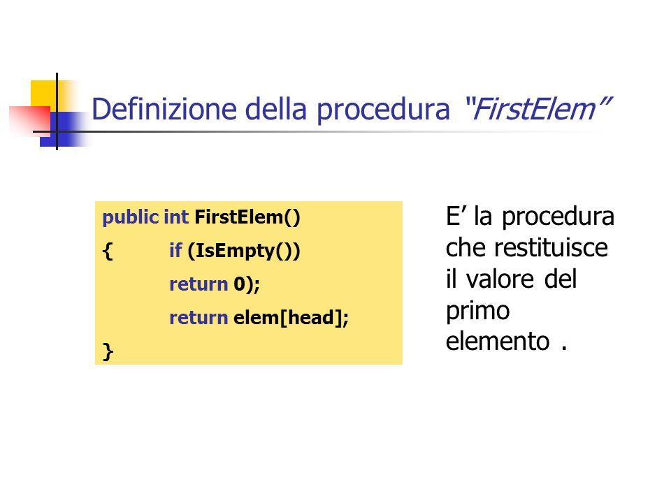 Definizione della procedura FirstElem
