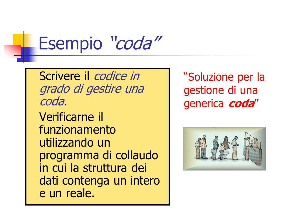 Esempio coda Scrivere il codice in grado di gestire una coda.