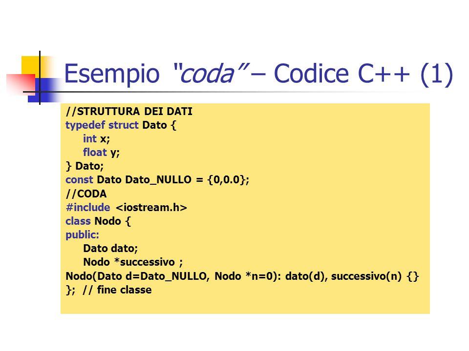 Esempio coda – Codice C++ (1)
