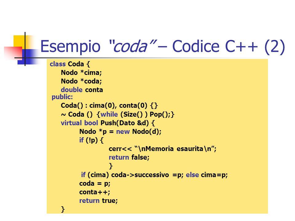 Esempio coda – Codice C++ (2)