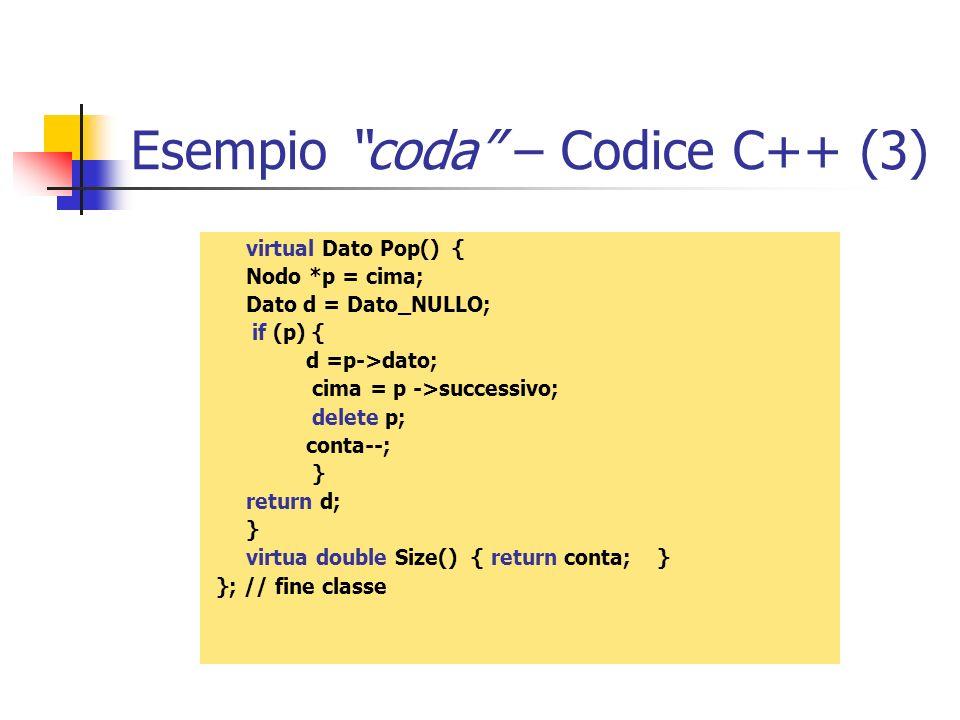 Esempio coda – Codice C++ (3)