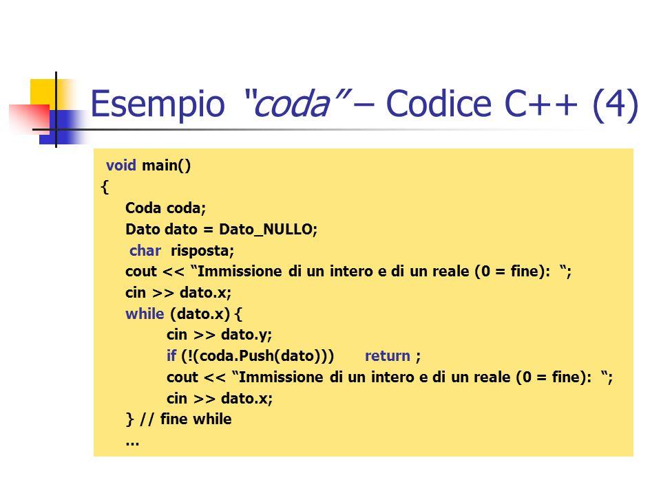 Esempio coda – Codice C++ (4)