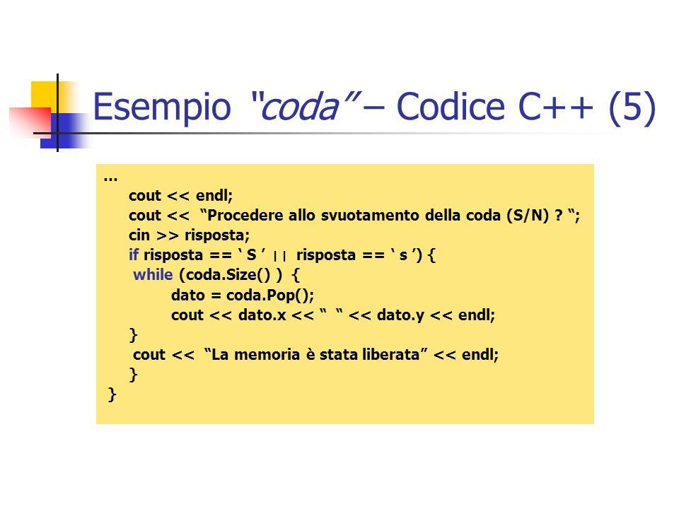 Esempio coda – Codice C++ (5)